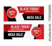 flat black friday banner | Shutterstock .eps vector #742026004