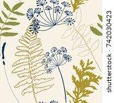 floral vector seamless pattern... | Shutterstock .eps vector #742030423