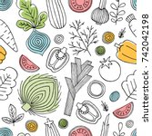 fun vegetables seamless pattern.... | Shutterstock .eps vector #742042198