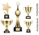 trophy cups set. golden stars ... | Shutterstock .eps vector #742043398