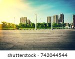 public square with empty road... | Shutterstock . vector #742044544