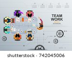 business meeting and... | Shutterstock .eps vector #742045006