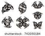 Black Dragon Head Symbols In...