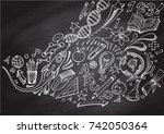 chalkboard wall doodles vector... | Shutterstock .eps vector #742050364