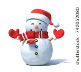 snowman with santa's hat 3d... | Shutterstock . vector #742052080