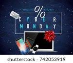 realistic smart phones  laptop...   Shutterstock .eps vector #742053919