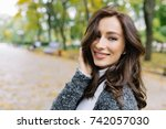 closeup portrait of wonderful... | Shutterstock . vector #742057030