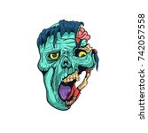 hand drawn zombie face with... | Shutterstock .eps vector #742057558