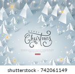 merry christmas and happy new... | Shutterstock .eps vector #742061149