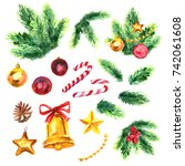 christmas collection with bells ...   Shutterstock . vector #742061608