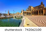 Plaza Espana on sunny day. Seville (Sevilla), Andalusia, Southern Spain.