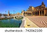 plaza espana on sunny day....   Shutterstock . vector #742062100