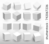 a set of cube icons with a... | Shutterstock .eps vector #742067236