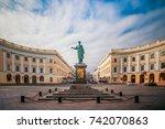 monument to duc de richelieu in ... | Shutterstock . vector #742070863