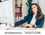 female architect working in... | Shutterstock . vector #742071298