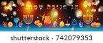 jewish holiday hanukkah...   Shutterstock .eps vector #742079353