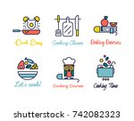 cooking class linear design... | Shutterstock .eps vector #742082323