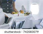 stewardess holding tray with... | Shutterstock . vector #742083079
