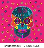 fun colorful skull icon... | Shutterstock .eps vector #742087666