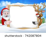 a happy christmas reindeer and... | Shutterstock . vector #742087804