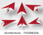 origami made red plane  paper... | Shutterstock .eps vector #742088206