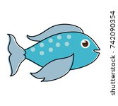 blue fish sideview icon image  | Shutterstock .eps vector #742090354