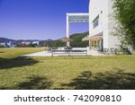 patio of art museum and the... | Shutterstock . vector #742090810