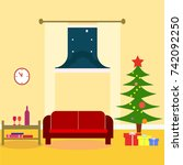 living room with christmas tree ... | Shutterstock .eps vector #742092250