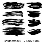 set of black paint  ink brush... | Shutterstock .eps vector #742094188