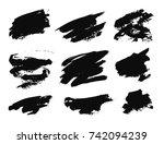 set of black paint  ink brush...   Shutterstock .eps vector #742094239