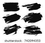 set of black paint  ink brush... | Shutterstock .eps vector #742094353