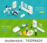 isometric insurance service... | Shutterstock .eps vector #742096624