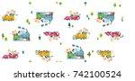 children in a land transport...   Shutterstock .eps vector #742100524