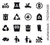 16 vector icon set   bio ... | Shutterstock .eps vector #742104100