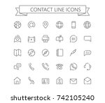 contact line mini icons. 24x24... | Shutterstock .eps vector #742105240