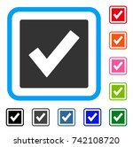 valid icon. flat grey iconic... | Shutterstock .eps vector #742108720