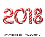 candy cane numbers of 2018 new... | Shutterstock .eps vector #742108840