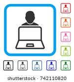 user laptop icon. flat gray...
