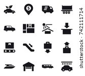 16 vector icon set   eco car ... | Shutterstock .eps vector #742111714