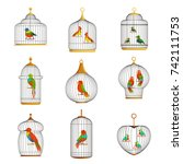 colorful birds in cages set... | Shutterstock .eps vector #742111753