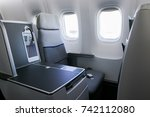 interior of airplane with empty ... | Shutterstock . vector #742112080
