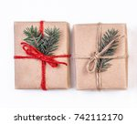 christmas gift boxes wrapped in ... | Shutterstock . vector #742112170