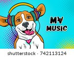 wow pop art dog face. funny... | Shutterstock .eps vector #742113124