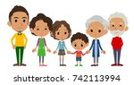 family three generations black... | Shutterstock .eps vector #742113994