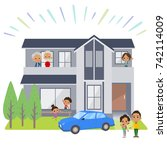 family 3 generations house... | Shutterstock .eps vector #742114009