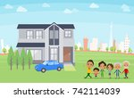 family 3 generations house... | Shutterstock .eps vector #742114039
