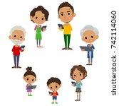 family 3 generations internet... | Shutterstock .eps vector #742114060