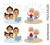 family 3 generations internet... | Shutterstock .eps vector #742114120
