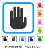 stop hand icon. flat grey...