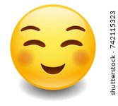 flushed smiling emoji smiley... | Shutterstock .eps vector #742115323